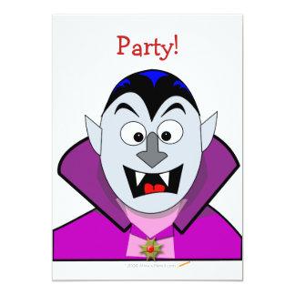 """Vampiro lindo del dibujo animado de Halloween Invitación 5"""" X 7"""""""
