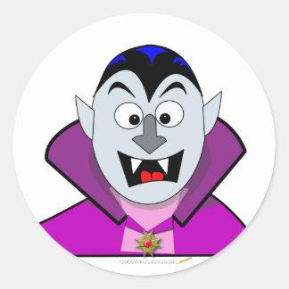 Vampiro lindo del dibujo animado de Halloween Pegatina Redonda