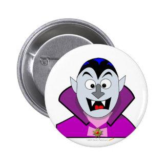 Vampiro lindo del dibujo animado de Halloween Pin Redondo 5 Cm