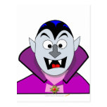 Vampiro lindo del dibujo animado de Halloween Postal