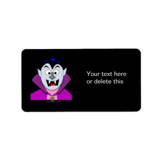 Vampiro lindo Hallowen del dibujo animado Etiquetas De Dirección