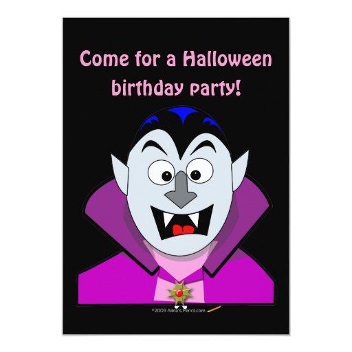 Vampiro lindo Hallowen del dibujo animado Invitación 12,7 X 17,8 Cm