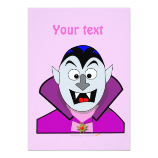 "Vampiro lindo Hallowen del dibujo animado Invitación 5"" X 7"""