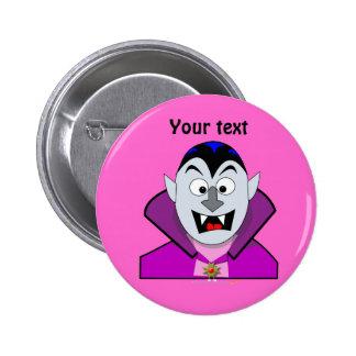 Vampiro lindo Hallowen del dibujo animado Pin Redondo De 2 Pulgadas