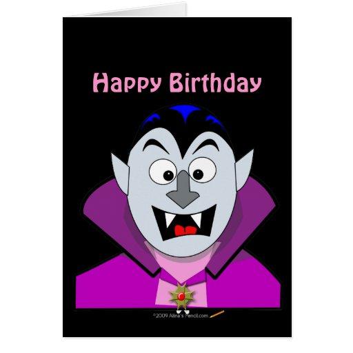 Vampiro lindo Hallowen del dibujo animado Tarjeta De Felicitación