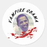 Vampiro Obama con la salpicadura de la sangre Etiquetas Redondas