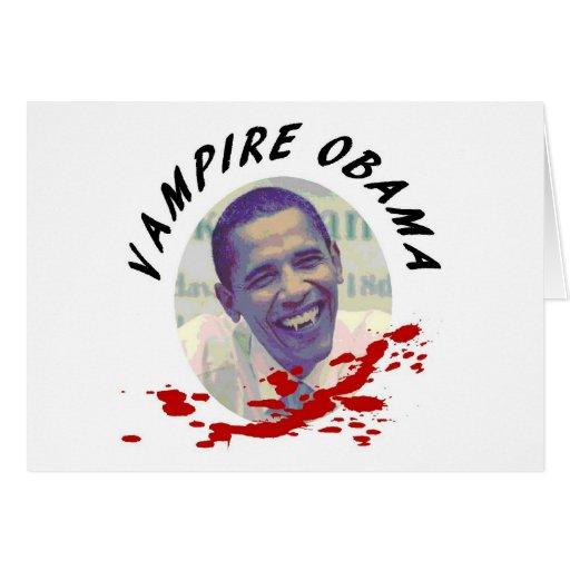 Vampiro Obama con la salpicadura de la sangre Tarjetas