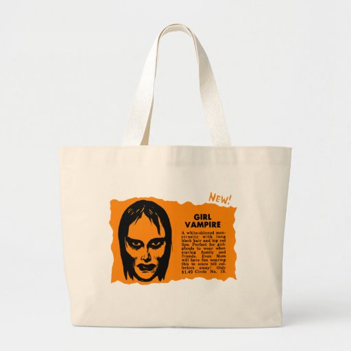 Vampiro retro del chica del monstruo del kitsch de bolsa tela grande