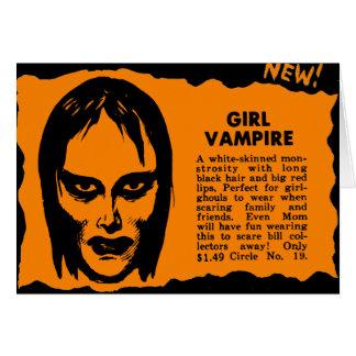 Vampiro retro del chica del monstruo del kitsch de tarjeta de felicitación