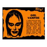 Vampiro retro del chica del monstruo del kitsch de postal