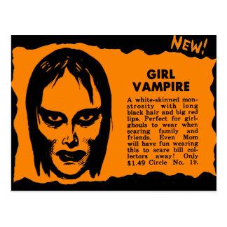 Vampiro retro del chica del monstruo del kitsch tarjetas postales