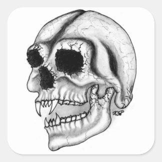 Vampiro skull black and design white pegatina cuadrada
