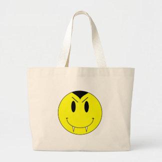 Vampiro sonriente amarillo de la cara del KRW Bolsa Tela Grande