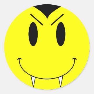 Vampiro sonriente amarillo de la cara del KRW Pegatina Redonda