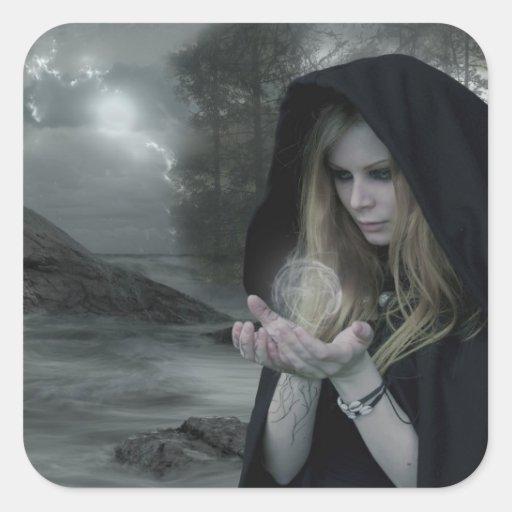 Vampiro y brujería pegatina cuadrada