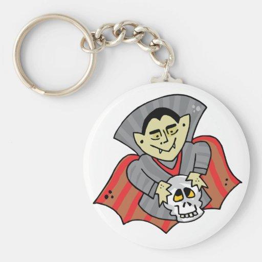Vampiro y cráneo llavero redondo tipo pin