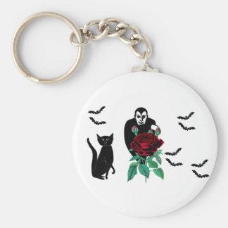 Vampiro y gato llavero redondo tipo pin