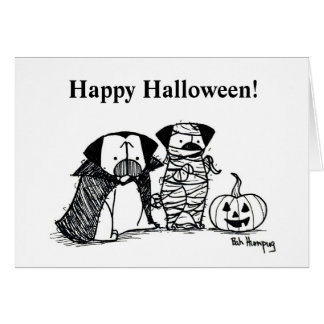 Vampug and Mummy Pug Halloween Card