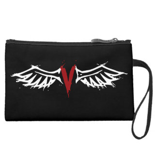 Vampyre Angel Wings Suede Wristlet