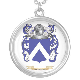 Van Breugel Family Crest (Coat of Arms) Round Pendant Necklace