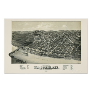 Van Buren, AR Panoramic Map - 1888 Poster