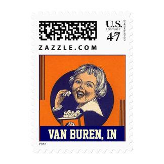 Van Buren Indiana popcorn girl vintage Stamps
