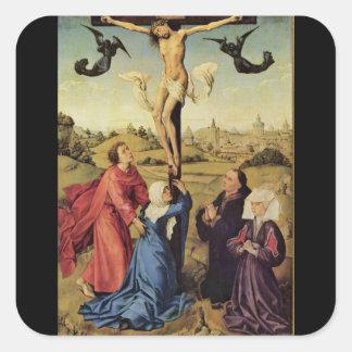 van der Weyden Jesus on the Cross Square Sticker