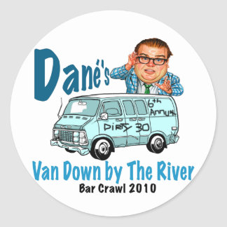 Van Down by the River Crawl Classic Round Sticker