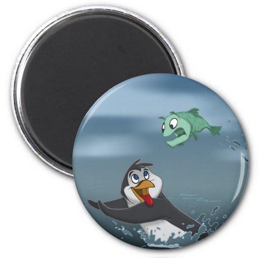 """""""Van el pingüino w/Background de los pescados"""" Imán Redondo 5 Cm"""