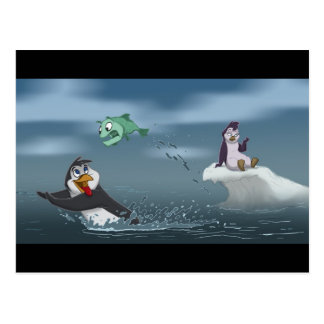 """""""Van el pingüino w/Background de los pescados"""" Postal"""
