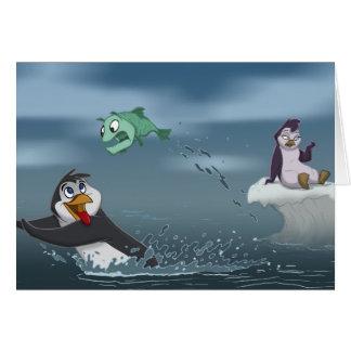 """""""Van el pingüino w/Background de los pescados"""" Tarjeta De Felicitación"""