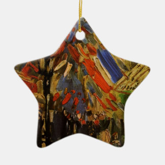 Van Gogh; 14th of July Celebration in Paris Double-Sided Star Ceramic Christmas Ornament