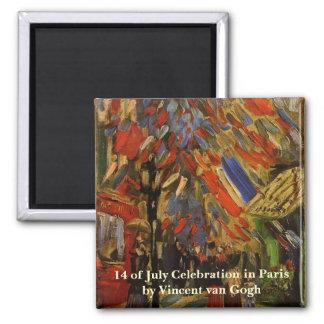 Van Gogh; 14to de la celebración de julio en París Imán Cuadrado