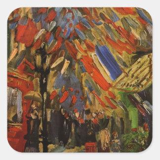 Van Gogh; 14to de la celebración de julio en París Pegatina Cuadrada
