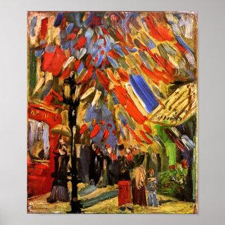 Van Gogh - 14to de la celebración de julio en Póster