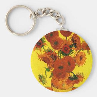 Van Gogh 15 Sunflowers Basic Round Button Keychain