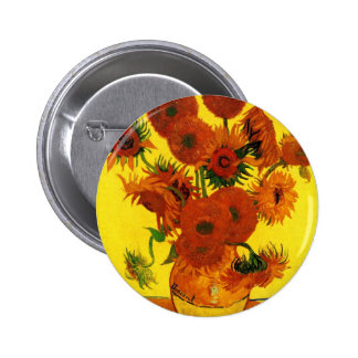 Van Gogh 15 Sunflowers Pinback Button