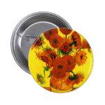 Van Gogh 15 Sunflowers Pinback Button