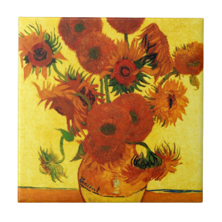 Van Gogh 15 Sunflowers Small Square Tile