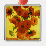 Van Gogh 15 Sunflowers Square Metal Christmas Ornament