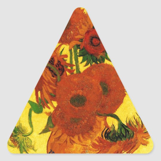 Van Gogh 15 Sunflowers Triangle Sticker