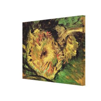 Van Gogh 2 Cut Sunflowers, Vintage Floral Fine Art Canvas Print