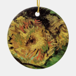 Van Gogh 2 Cut Sunflowers, Vintage Floral Fine Art Ceramic Ornament