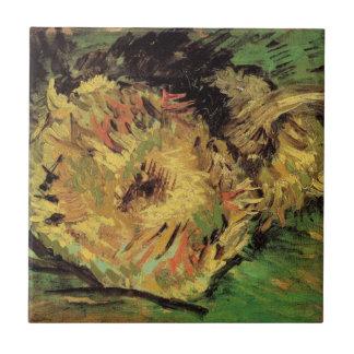 Van Gogh 2 Cut Sunflowers, Vintage Floral Fine Art Ceramic Tile