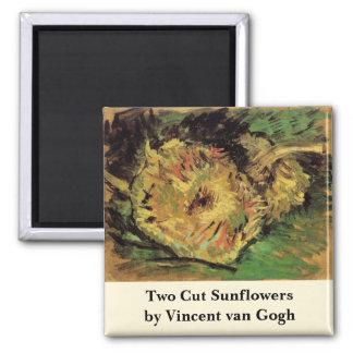 Van Gogh 2 Cut Sunflowers, Vintage Floral Fine Art Magnet