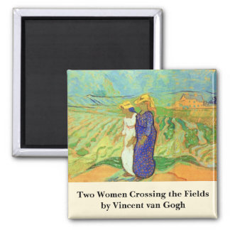 Van Gogh, 2 Women Crossing Fields, Vintage Friends 2 Inch Square Magnet