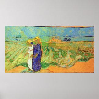 Van Gogh, 2 Women Crossing Fields, Vintage Friends Poster