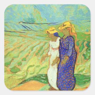 Van Gogh 2 Women Crossing Fields Vintage Friends Stickers