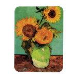 Van Gogh; 3 girasoles en un florero, flores del vi Imanes
