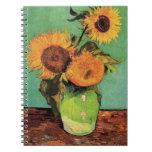 Van Gogh; 3 girasoles en un florero, flores del vi Libretas Espirales